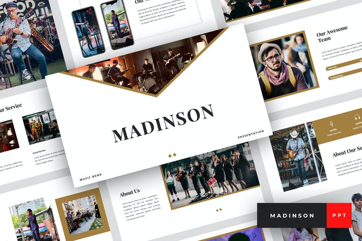 Thumbnail for Madinson - Music Band PowerPoint Template