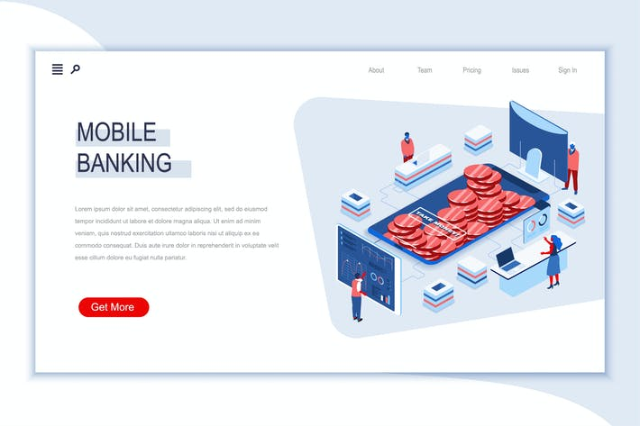 Thumbnail for Mobile Banking Isometric Banner Flat Concept