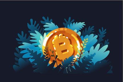 Bitcoin logo in shining golden color
