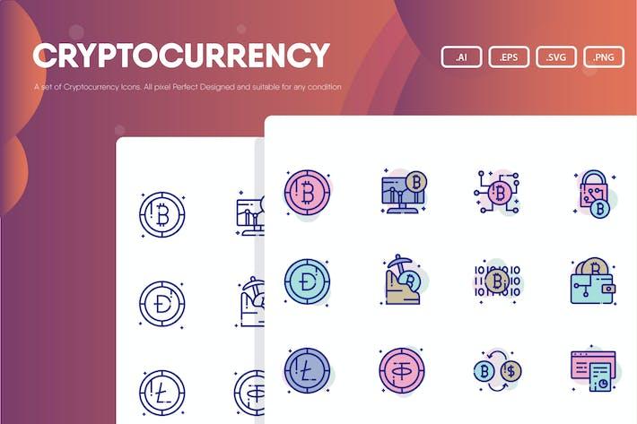 Набор значков криптовалюты
