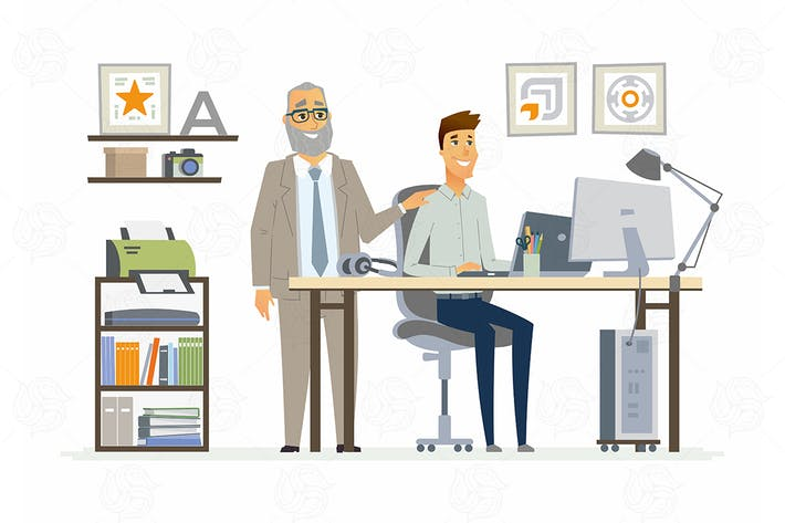 Thumbnail for Supervising Staff - vector cartoon illustration