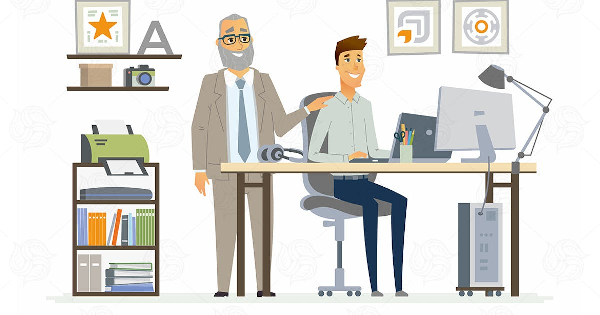 Download Supervising Staff - vector cartoon illustration by BoykoPictures