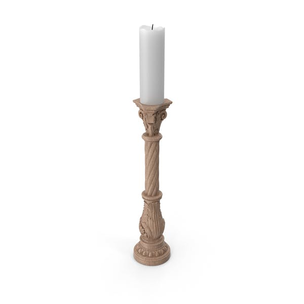 Wooden Baroque Candle Holder