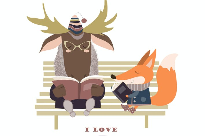 Thumbnail for Cute fox and funny elk reading books on bench.