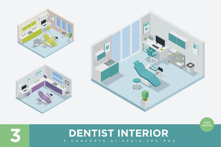 Thumbnail for 3 Isometric Dental Clinic Interior Vector Set 1