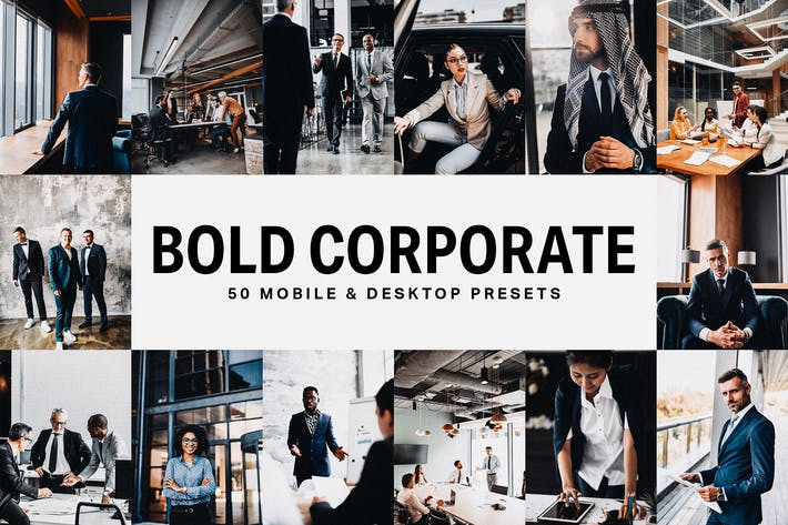 Thumbnail for 50 Bold Corporate Lightroom Presets and LUTs