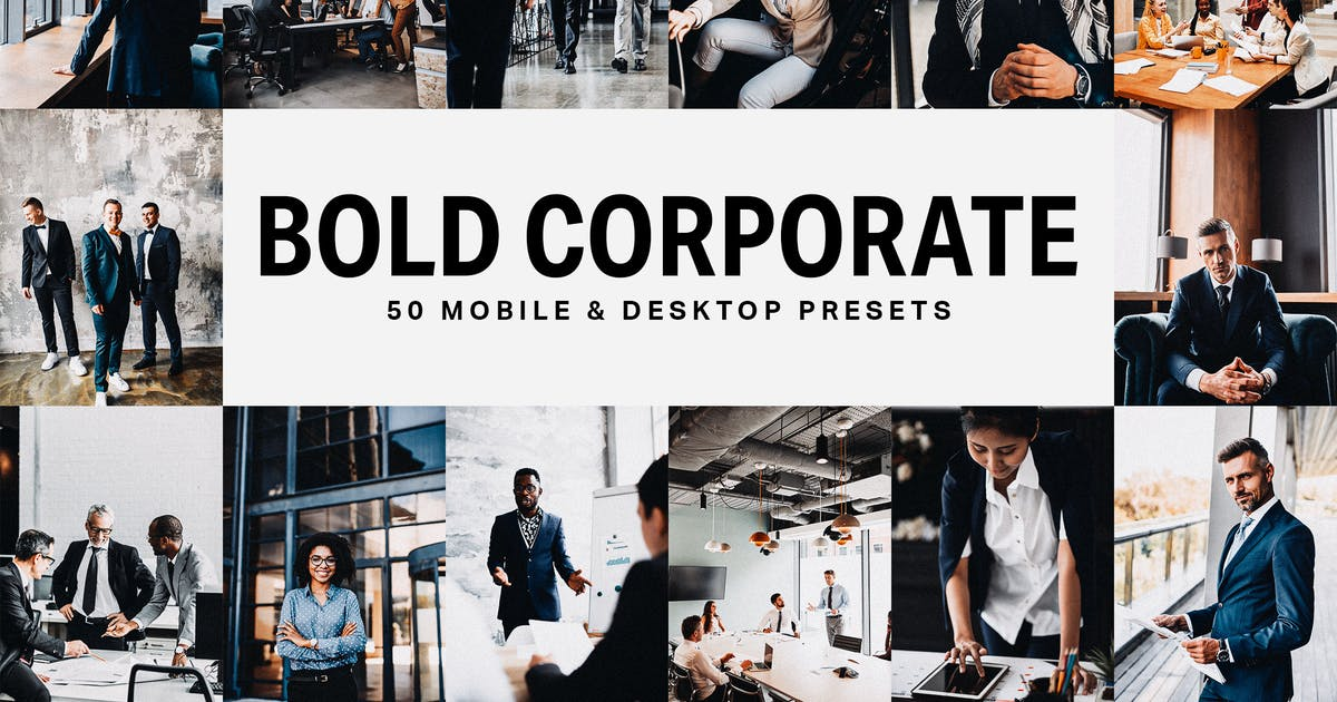 Download 50 Bold Corporate Lightroom Presets and LUTs by sparklestock