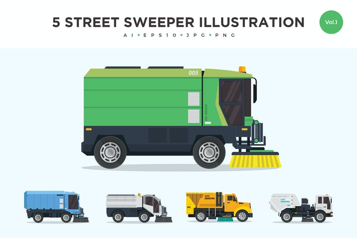 Thumbnail for 5 Street Sweeper Truck Vector Illustration Set 1