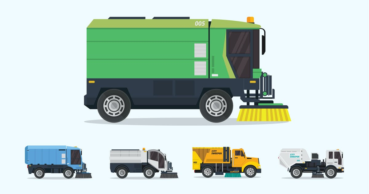 Download 5 Street Sweeper Truck Vector Illustration Set 1 by naulicrea