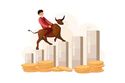 Businessman riding on bull on graph