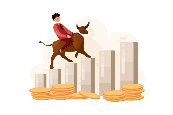 Thumbnail for Businessman riding on bull on graph