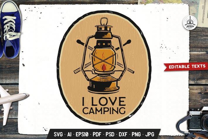 Thumbnail for Я люблю лагерь Логотип приключения, дикий ретро печать рубашка