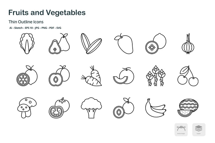 Thumbnail for Fruits and Vegetables thin outline icons