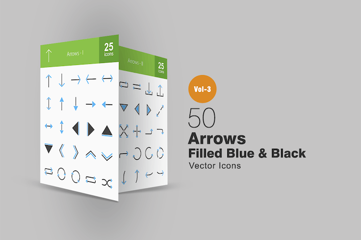 Thumbnail for 50 Arrows Blue & Black Icons