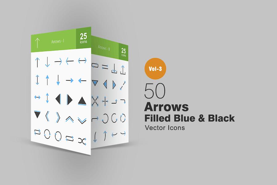 50 Arrows Blue & Black Icons