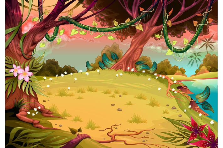 Thumbnail for Vista de la selva en la puesta de sol