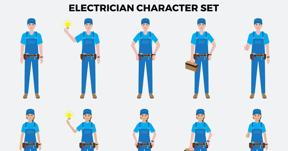 Download Electrician Character Set – Illustrations by designesto