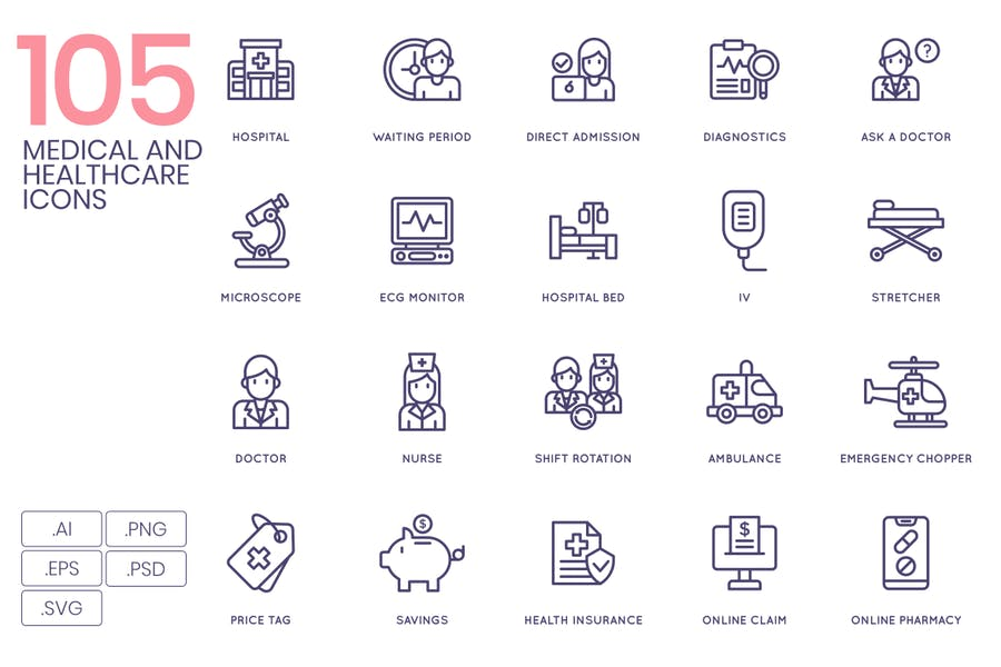 105 Medical and Healthcare Line Icons