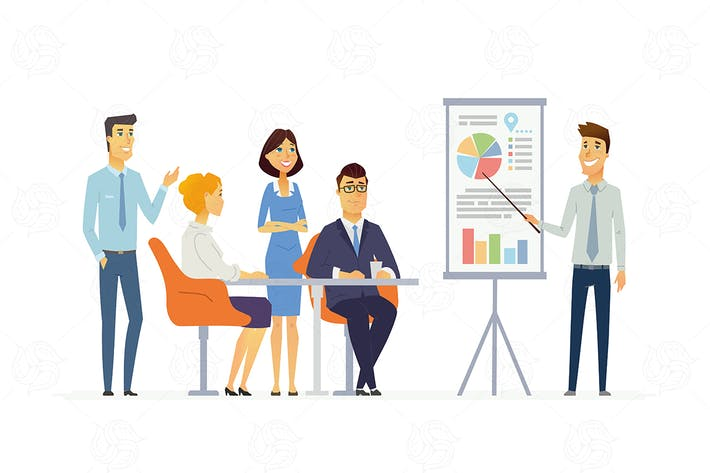 Cover Image For Business Meeting - vector cartoon illustration
