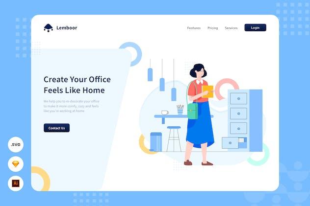 Cozy Office - Website Header - Illustration