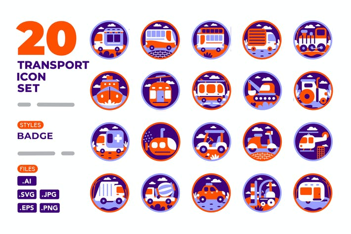 Thumbnail for Transport Icon Set (Badge)