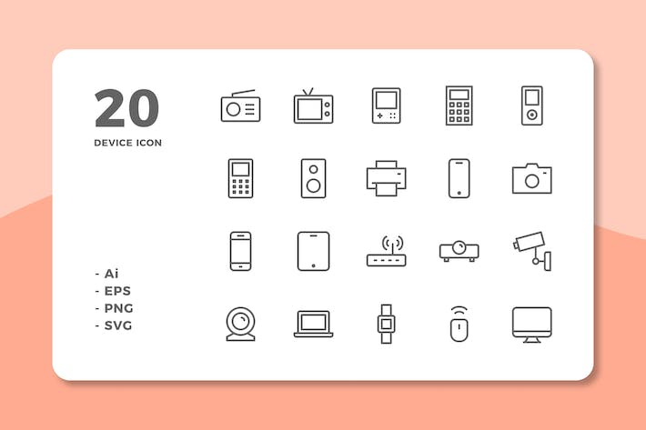 Thumbnail for 20 Device Icons (Line)