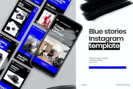 Blau - Geschichten Instagram Vorlage
