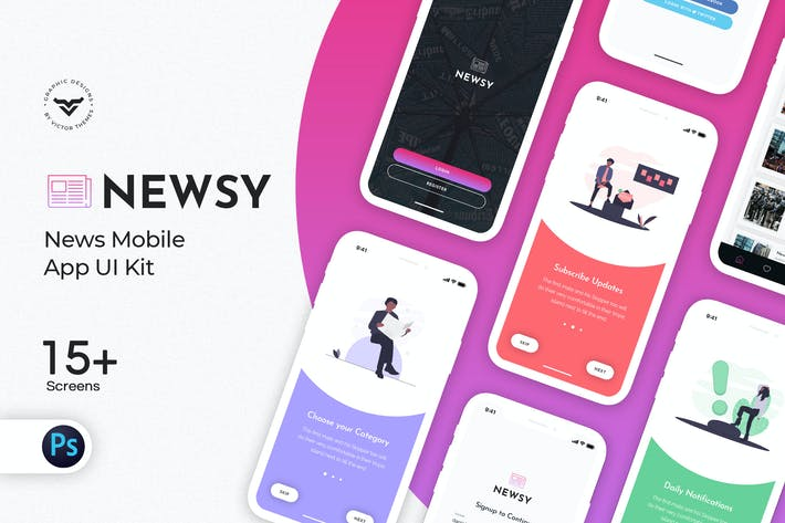 Thumbnail for Newsy News Mobile App UI Kit