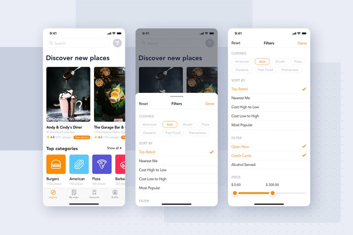 Thumbnail for Food Delivery UI Kit - Filters screen