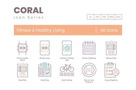 90 Íconos de línea de fitness y vida saludable