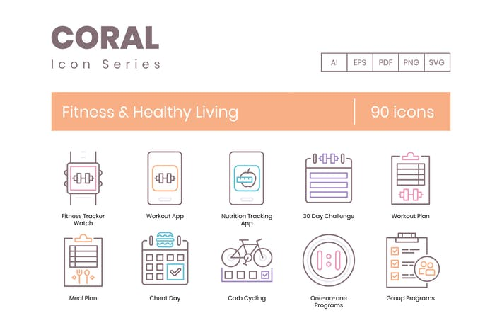 Thumbnail for 90 Fitness & Healthy Living Line Icons