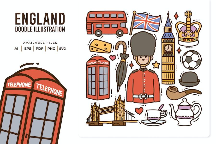 England Doodle Illustration