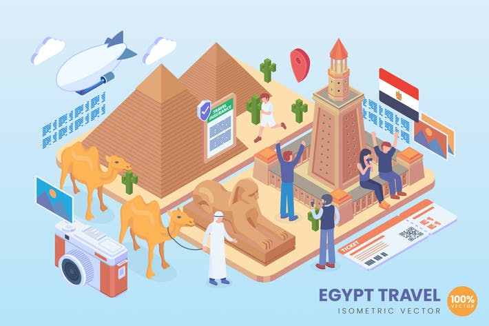 Thumbnail for Isometric Egypt Travel Holiday Vector Concept