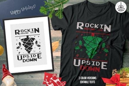 Christmas Tree Sweater T-Shirt Design. Xmas Party