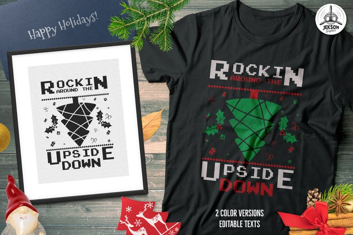 Thumbnail for Christmas Tree Sweater T-Shirt Design. Xmas Party