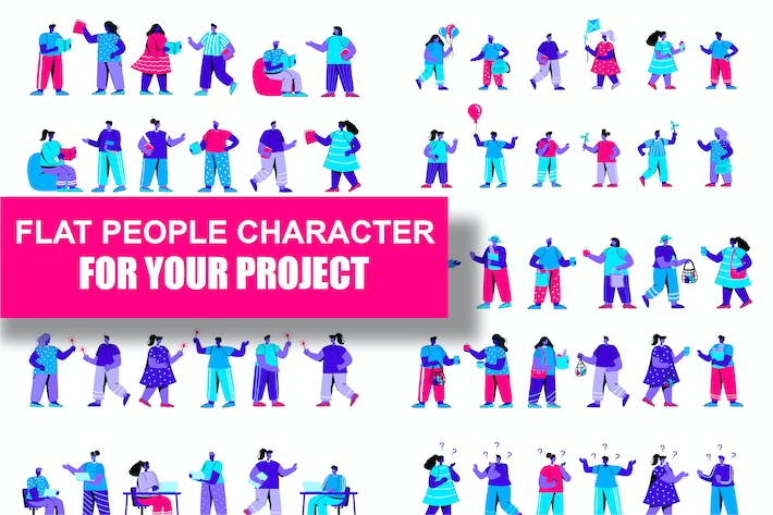 Thumbnail for Collection Flat Blue People Character
