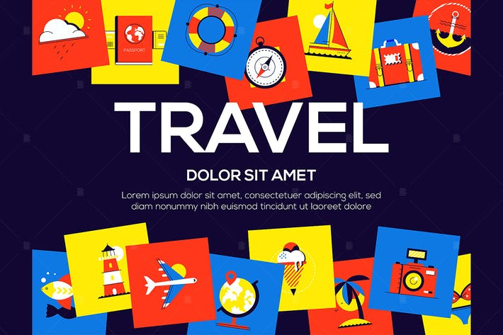Thumbnail for Travel - colorful flat design style web banner