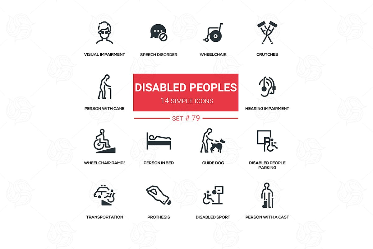 Download Disabled people - line design silhouette icons set by BoykoPictures by Unknow
