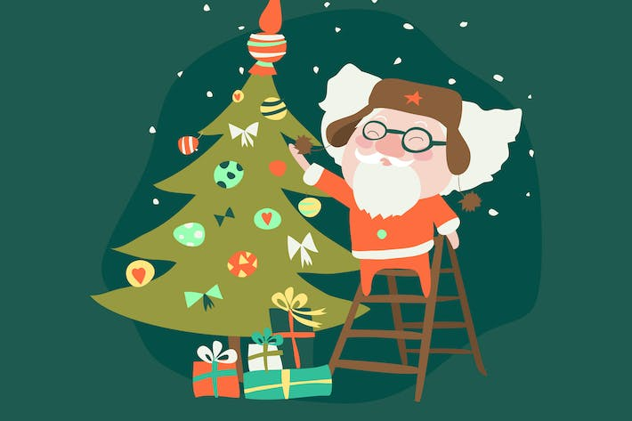 Thumbnail for Funny Santa Claus with christmas tree. Vector