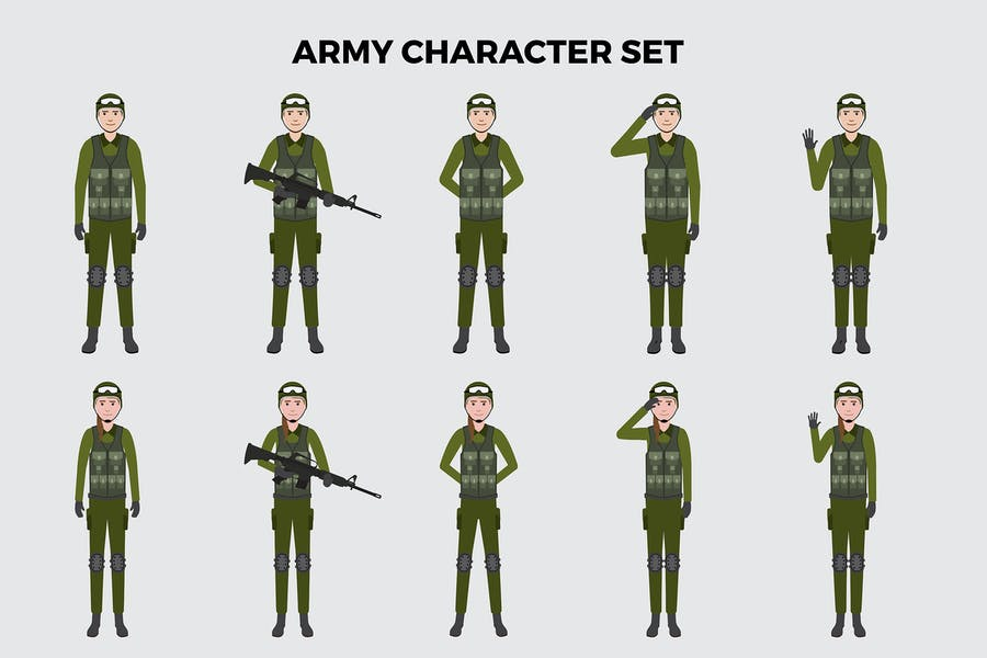 Army Character Set – Illustrations