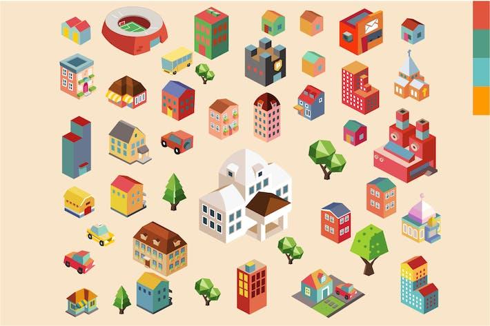 Thumbnail for Ville isométrique Vecteur coloré