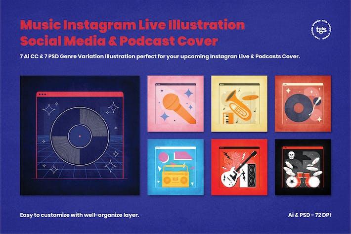 Thumbnail for Music Instagram Live & Podcast Cover Illustration