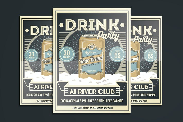 Thumbnail for Vintage Drink Party Flyer Poster