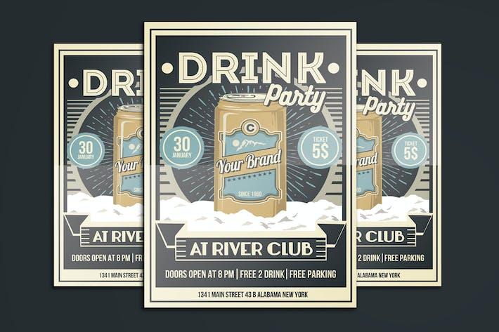 Thumbnail for Affiche Vintage Drink Party dépliant