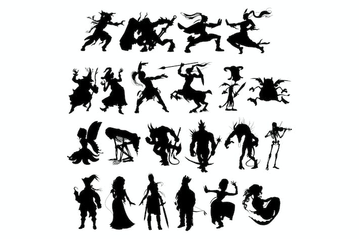 Thumbnail for Silhouettes of Cartoon Fantasy Characters