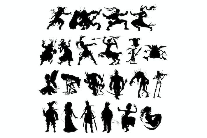 Silhouetten von Cartoon Fantasy-Figuren