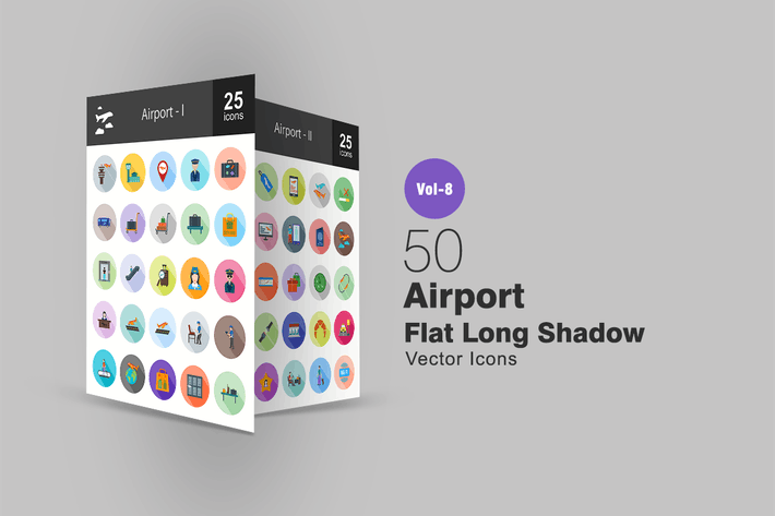 Thumbnail for 50 Airport Flat Shadowed Icons