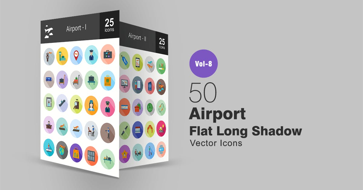Download 50 Airport Flat Shadowed Icons by IconBunny