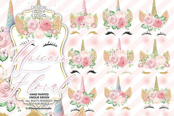 Thumbnail for Unicorn Faces Floral Clipart