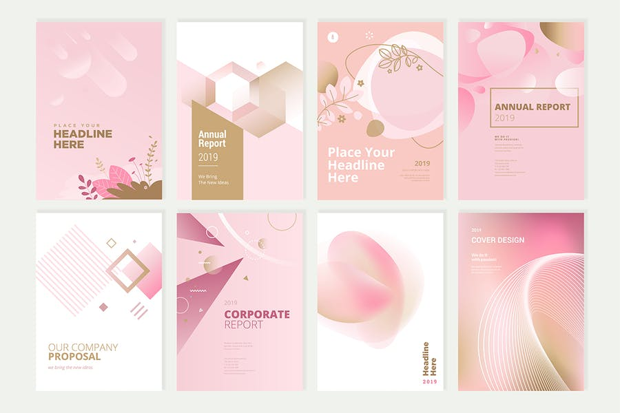 Beauty brochure, annual report, cover designs - product preview 0